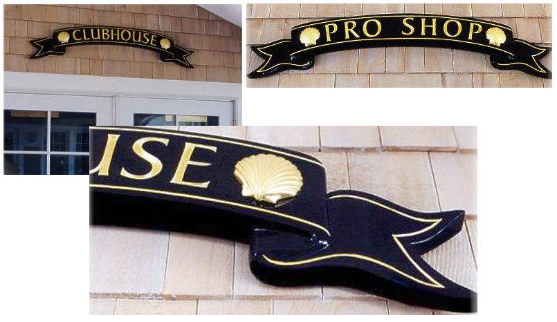 Captains Course Pro Shop & Clubhouse ribbon signs