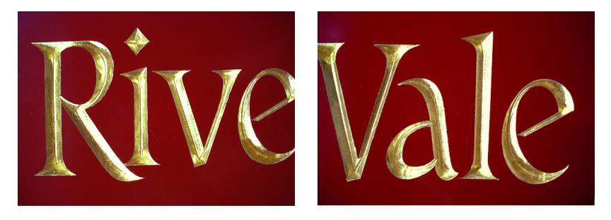 23k Gold Leaf gilding on hand carved letters